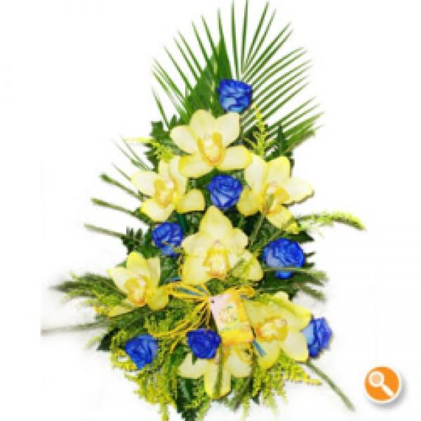 Arranjo com orquídeas e rosas azuis - Casanova
