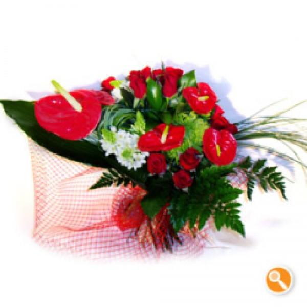 Bouquet de anturios e rosas - Vistoso