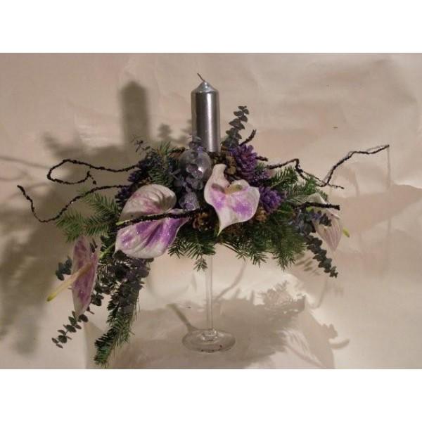 Centro em taça de vidro - Christmas Violet