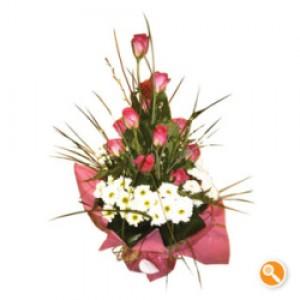 Ramo de margaridas e rosas - Coral