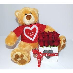 Cubo de Explosão de Amor com mimoso urso peluche para Dia dos Namorados